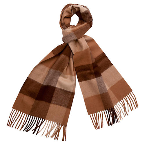 Men's Alpaca Wool Check Scarf, Camel