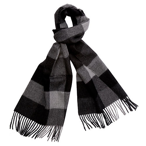 Men's Alpaca Wool Check Scarf, Heather