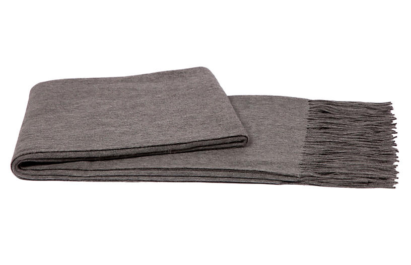 Solid Cashmere Throw, Heather Gray