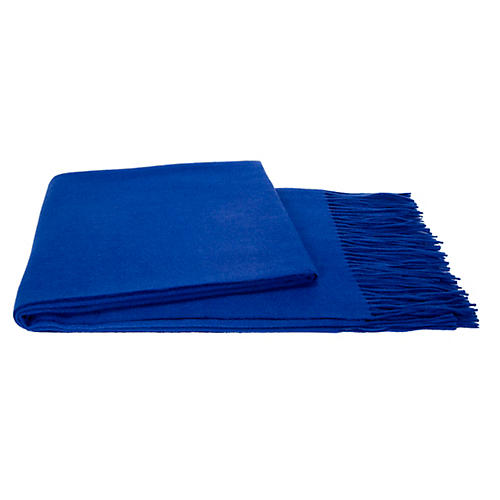 Solid Cashmere Throw, Cobalt