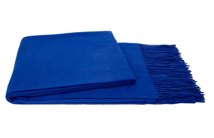 Solid Cashmere Throw, Cobalt