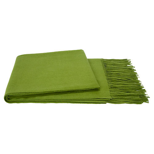 Solid Cashmere Throw, Grass