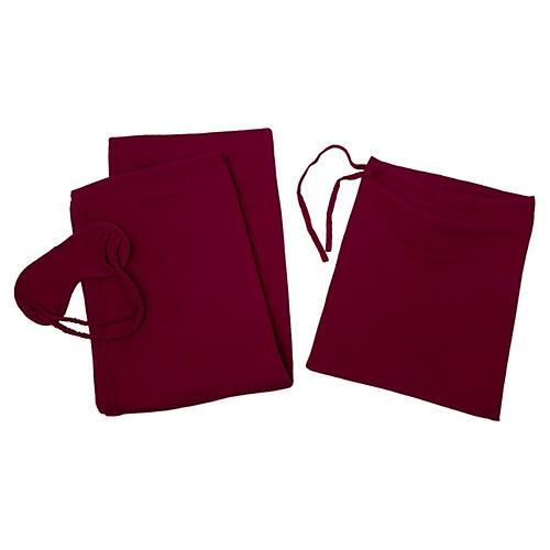Cashmere-Blend Travel Set, Raspberry