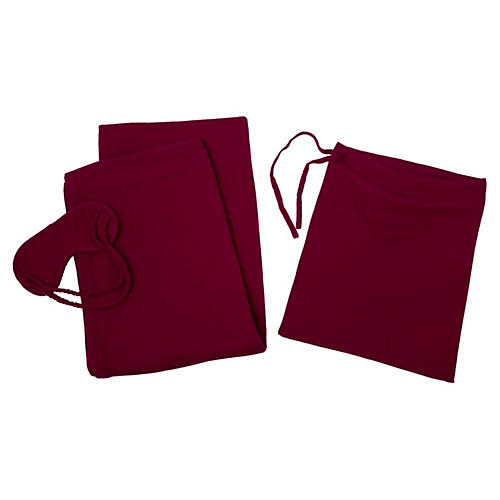 Cashmere-Blend Travel Set, Raspberry