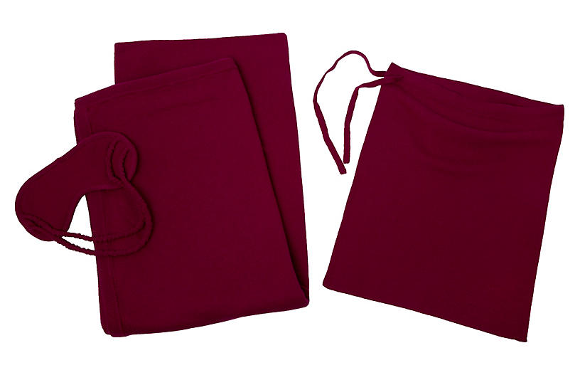 Cashmere-Blend Travel Set - Raspberry