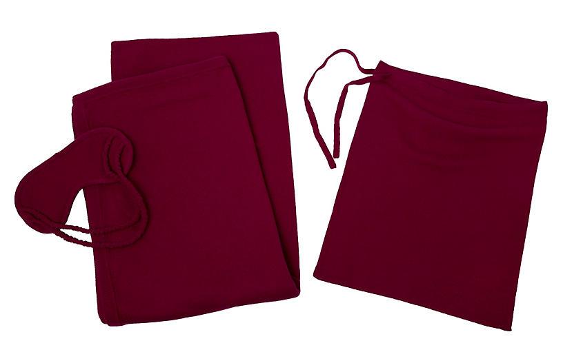 Cashmere-Blend Travel Set - Raspberry