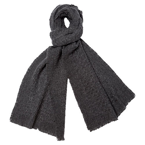 Cashmere-Blend Basketweave Scarf, Gray