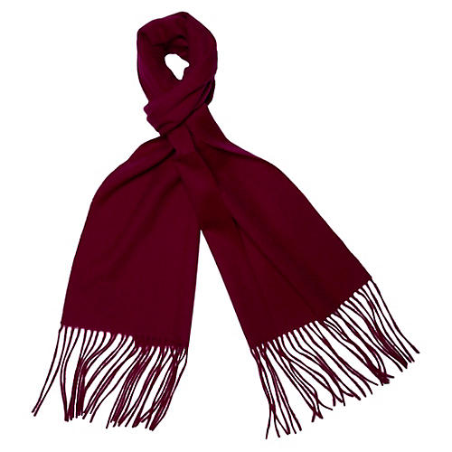 Cashmere-Blend Waterweave Scarf, Red