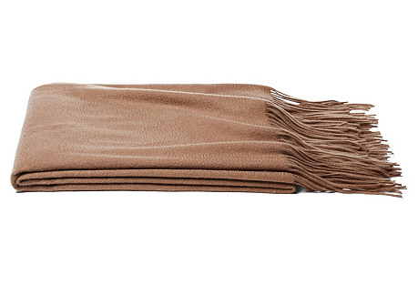 Solid Cashmere Throw, Camel