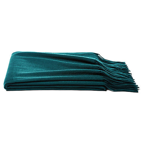 Solid Cashmere Throw, Blue Spruce