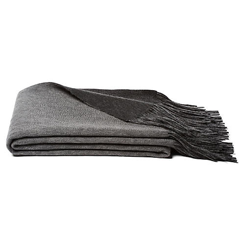 Reversible Cashmere Blend Throw, Gray