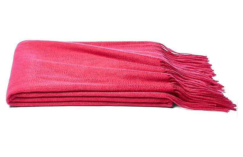 Solid Cashmere Throw, Begonia