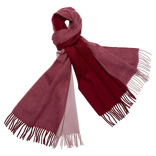 Four Colorway Cashmere Scarf, Merlot