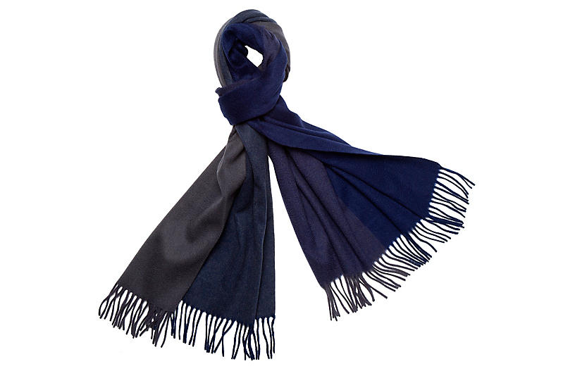 Four Colorway Cashmere Scarf, Navy