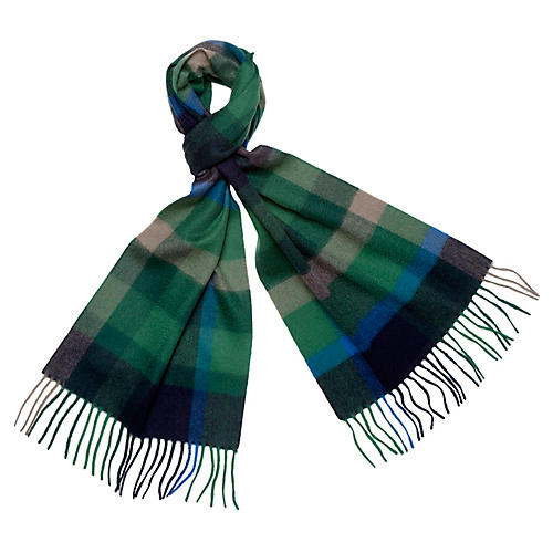 Checkered Cashmere Scarf, Emerald/Gray