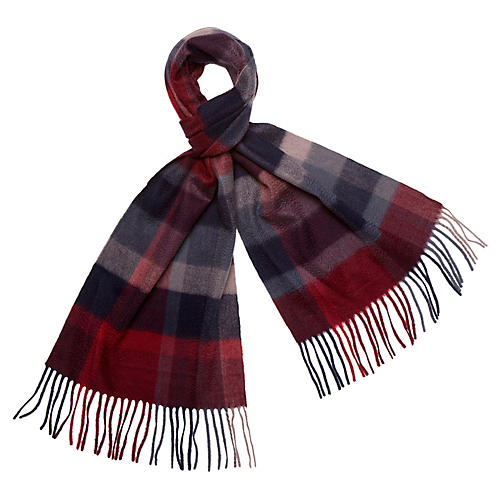 Checkered Cashmere Scarf, Garnet/Gray