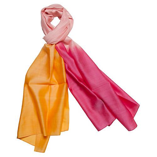Silk & Merino Wool Wrap, Begonia/Orange