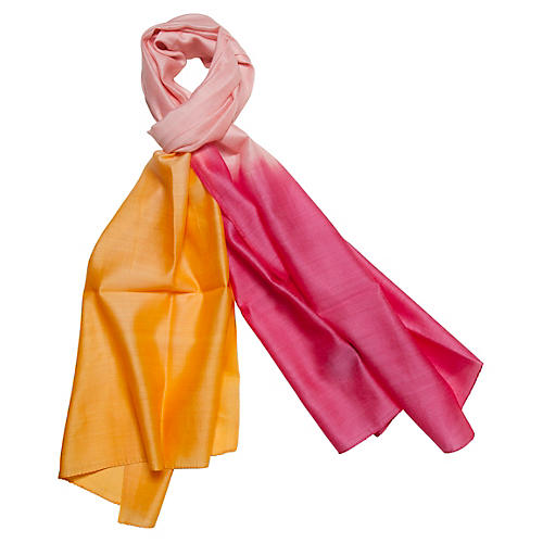 Silk & Merino Wool Wrap, Begonia/Orange