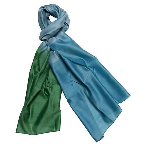 Silk & Merino Wool Wrap, Emerald