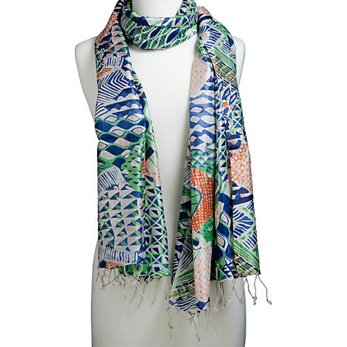 Screen-Printed Scarf, Emerald/Turquoise