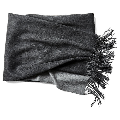 Reversible Cashmere-Blend Throw, Gray