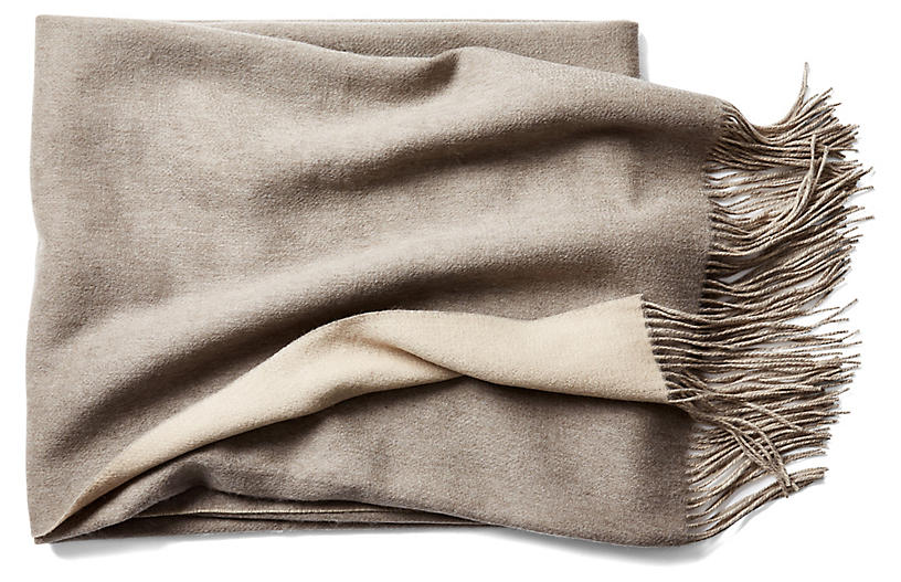 Reversible Cashmere-Blend Throw, Sand