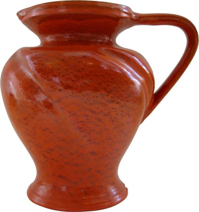 Orange Ceramic Vase w/ Handle