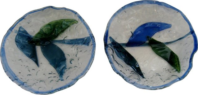 Fused Glass Bowls, Pair