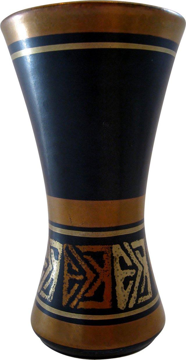 Bronze & Black Ceramic Vase