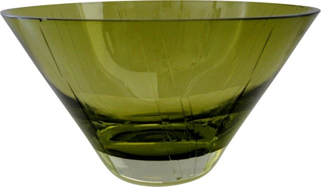 Olive Glass Bowl