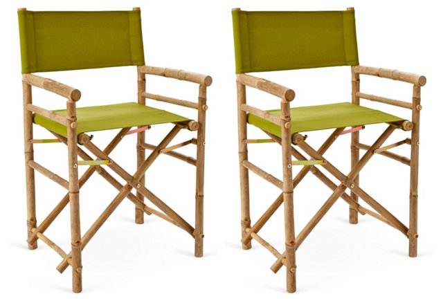 Green Outdoor Director's Chairs, Pair