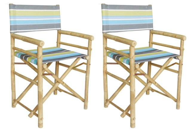 Striped Director's Chairs, Pair