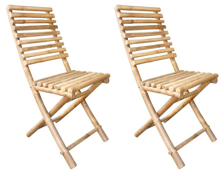Outdoor Bamboo Folding Chairs, Pair