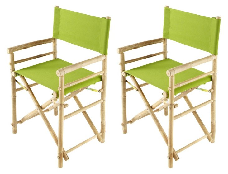 Lime Outdoor Director's Chairs, Pair