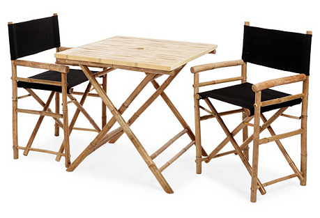 Outdoor Square Dining Set, Black