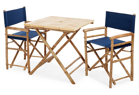 Square 3-Piece Dining Set, Navy