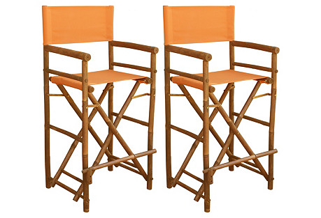Orange Director's Chairs, Pair