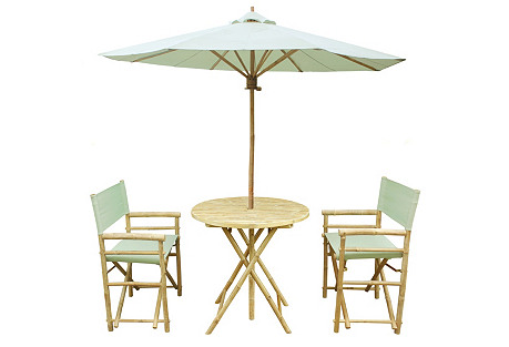 Round Outdoor Dining Set, Celadon