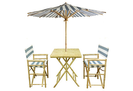 Outdoor Dining Set, Blue/White