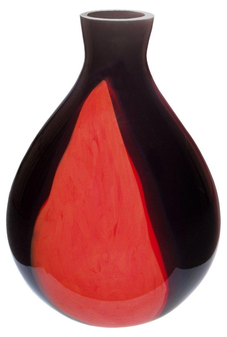 Venice Glass Vase, Red/Black