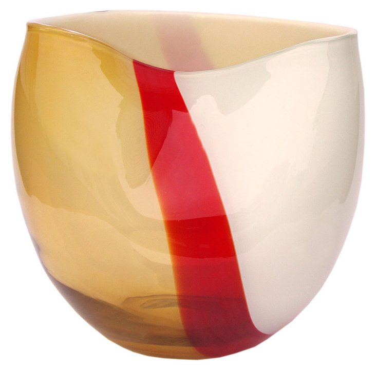 Ribbon Glass Vase, Amber/Red