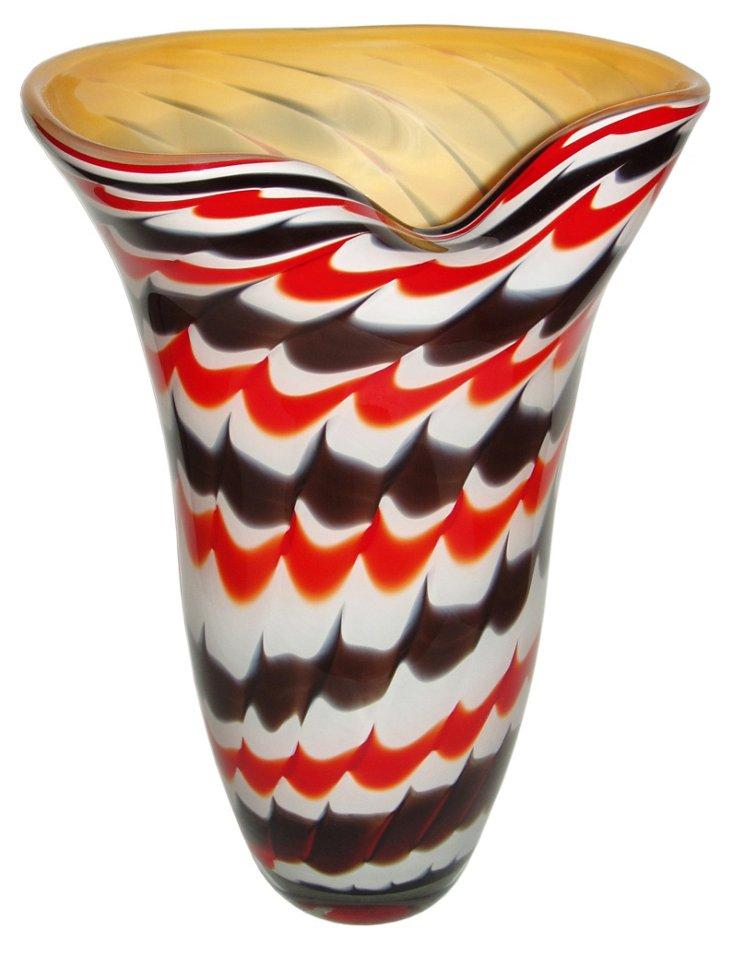 Dancing Glass Vase, Red/Black