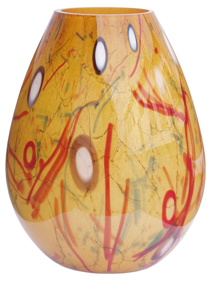 Milan Glass Vase, Amber/Multi