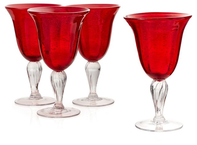 S/4 Bubble Wineglasses, Red