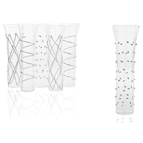 Asst of 6 Champagne Flutes, Silver