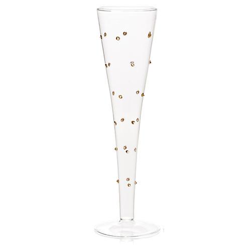 S/4 Gold-Dot Champagne Flutes