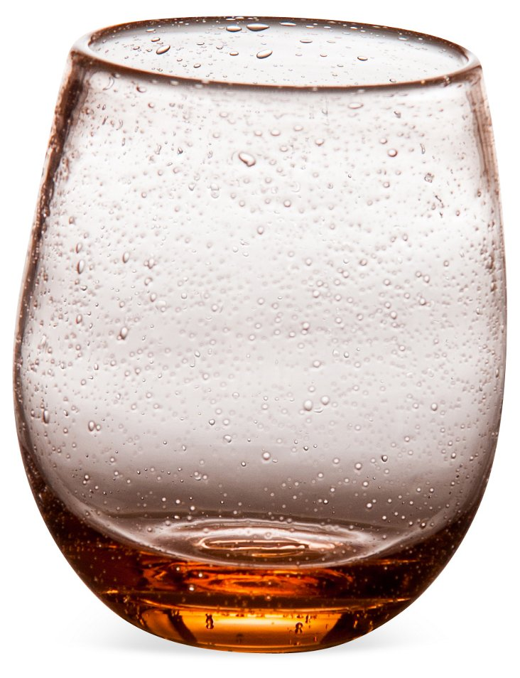 S/4 Bubble Stemless Wineglasses, Pink