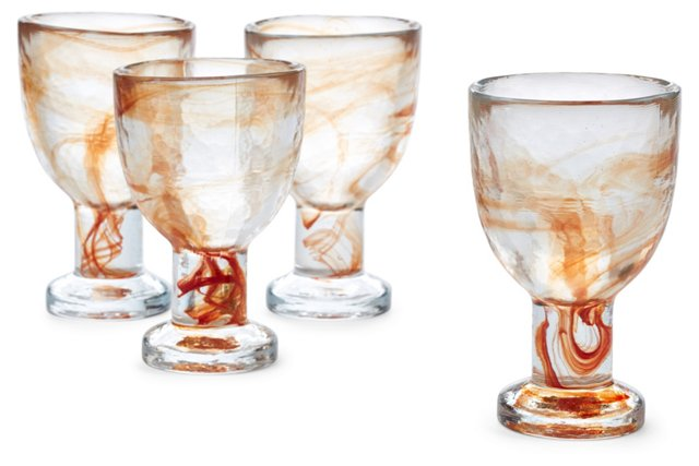S/4 White-Wine Glasses, Tangerine