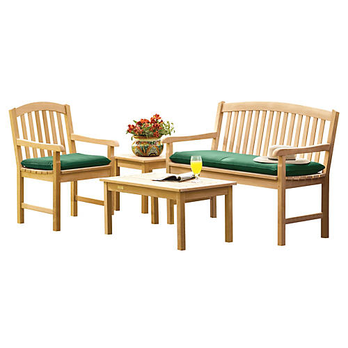 Mabel 4-PC Bench Set w/ Cushions