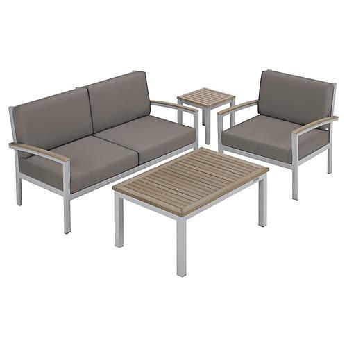 Charleston 4-Piece Seating Set, Gray